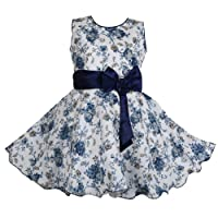 Bidhan Baby Girl's Sleevesless Frock With Bow