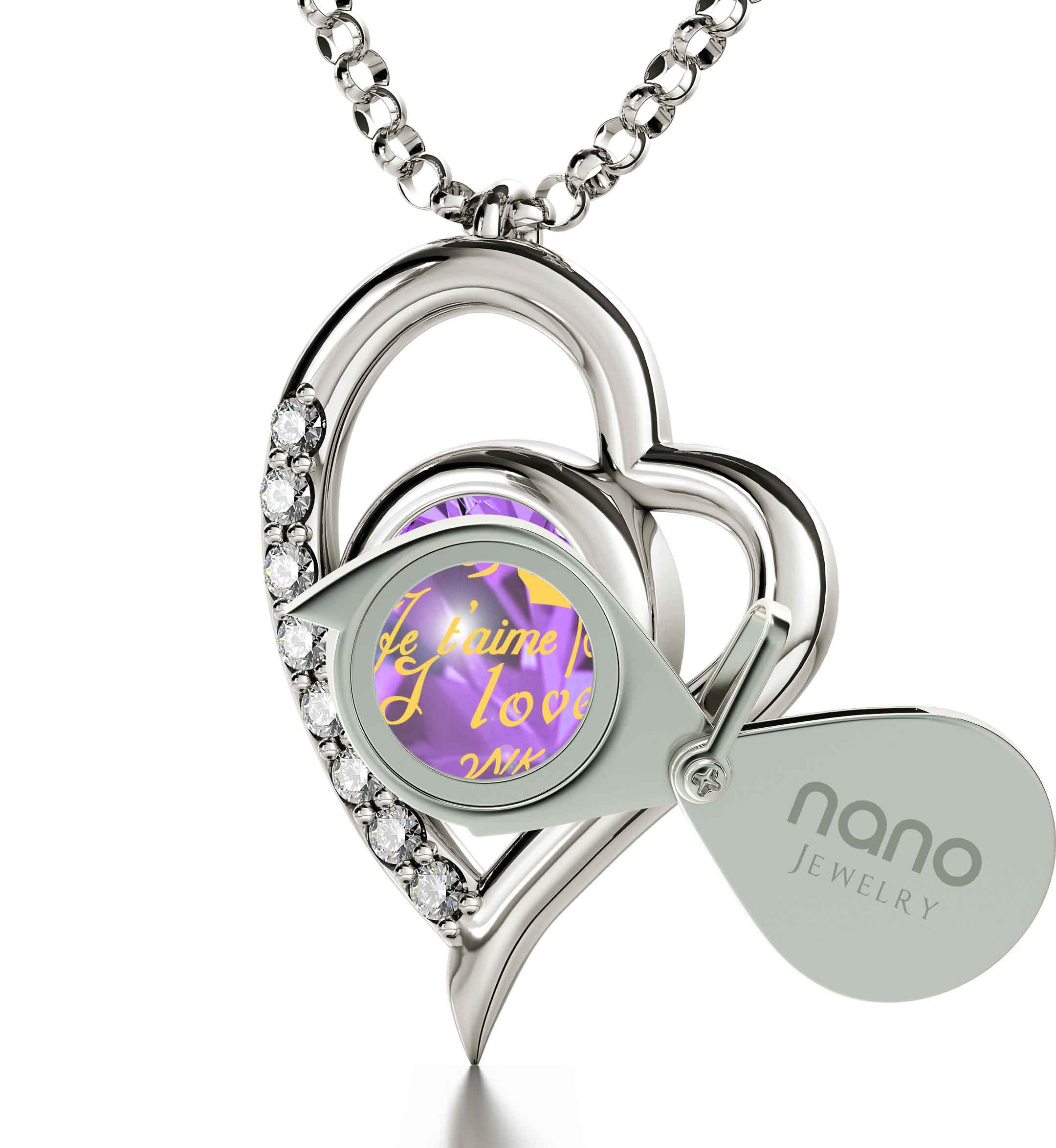 925 Sterling Silver Heart Pendant Necklace I Love You 12 Languages 24k Gold Inscribed Violet Crystal, 18'' by Nano Jewelry (Image #2)