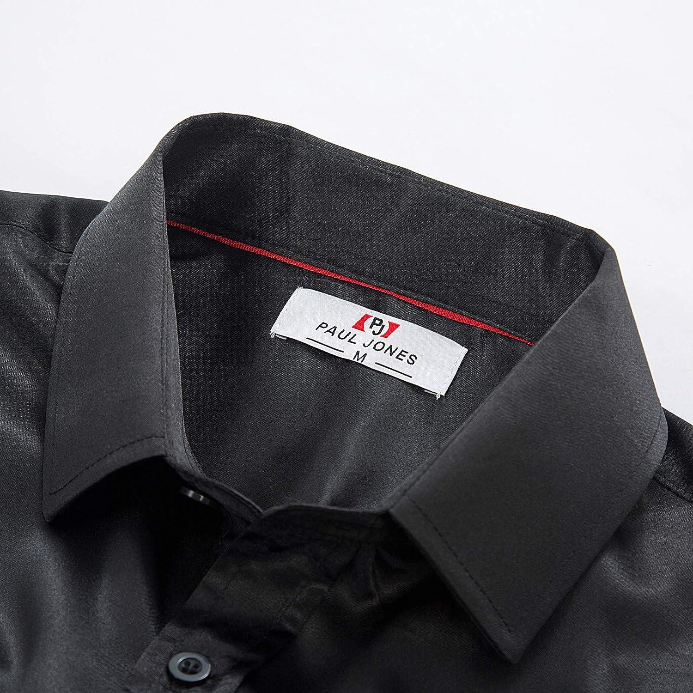 PaulJones Slim Fit Camisa de Hombre Classic Satin Silk Simulation Basic