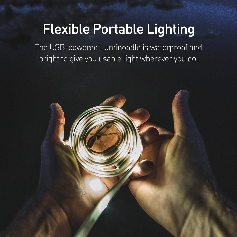 Luminoodle LED Cordon lumineux Ensemble d/éclairage complet pour camping urgence randonn/ée Batterie au lithium Portable LED Forte lumi/ère qui se transforme en lanterne LED s/écurit/é