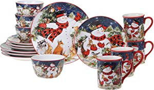 Certified International Magic Of Christmas Snowman 16pc Dinnerware Set, Service for 4, Multicolored