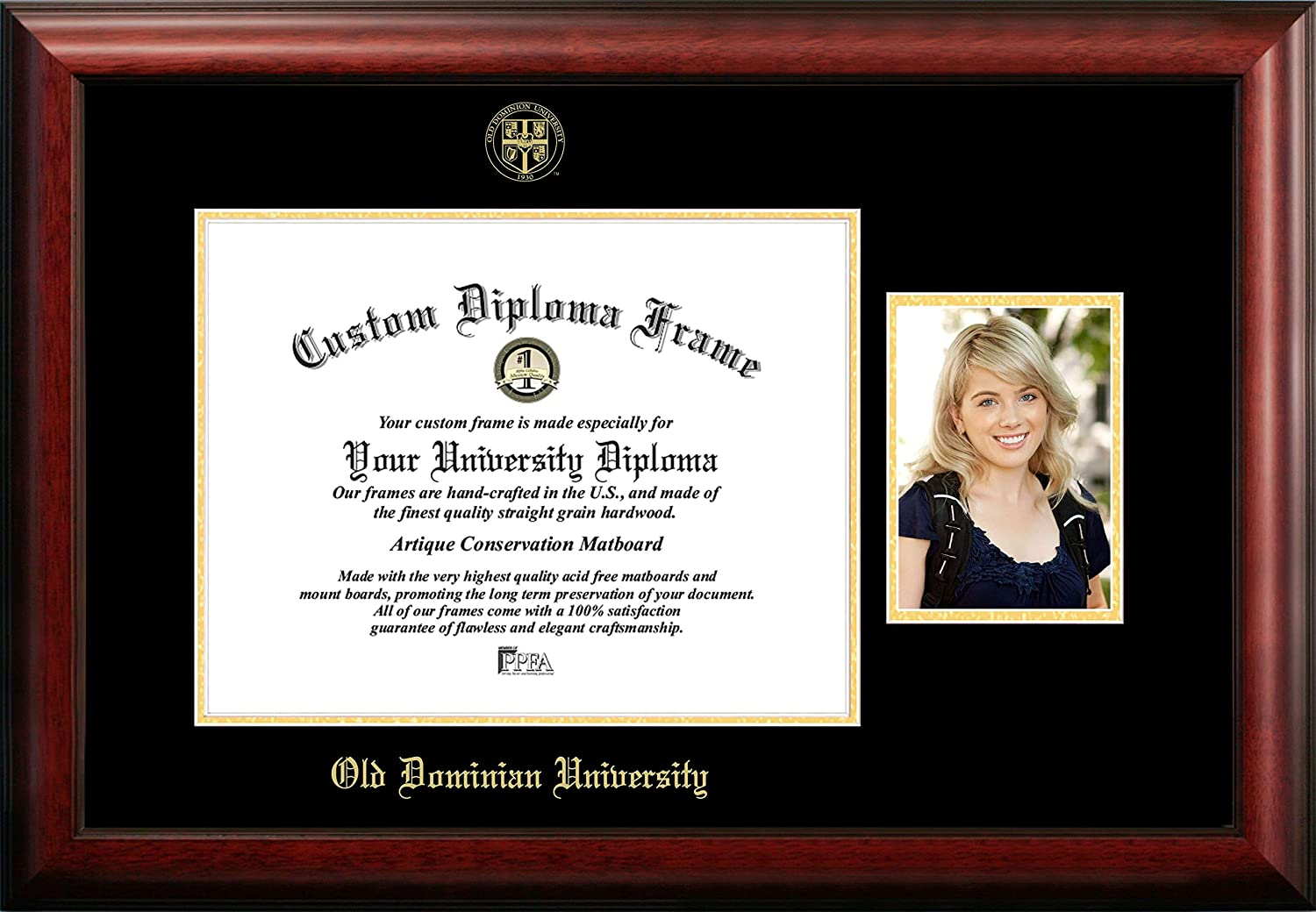 NCAA Old Dominion Monarchs Unisex Old Dominion 14 x 11 Inches Gold Embossed Diploma Frame with 5 x 7 Inches Portrait Gold Embossed Diploma Frame with 5 x 7 Inches Portrait Brown One Size