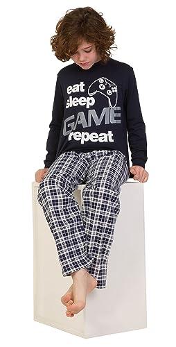 Pijama largo para niños con mensaje: «Eat Sleep Game Repeat», talla de 9 a 13 años, color azul: Amazon.es: Ropa y accesorios