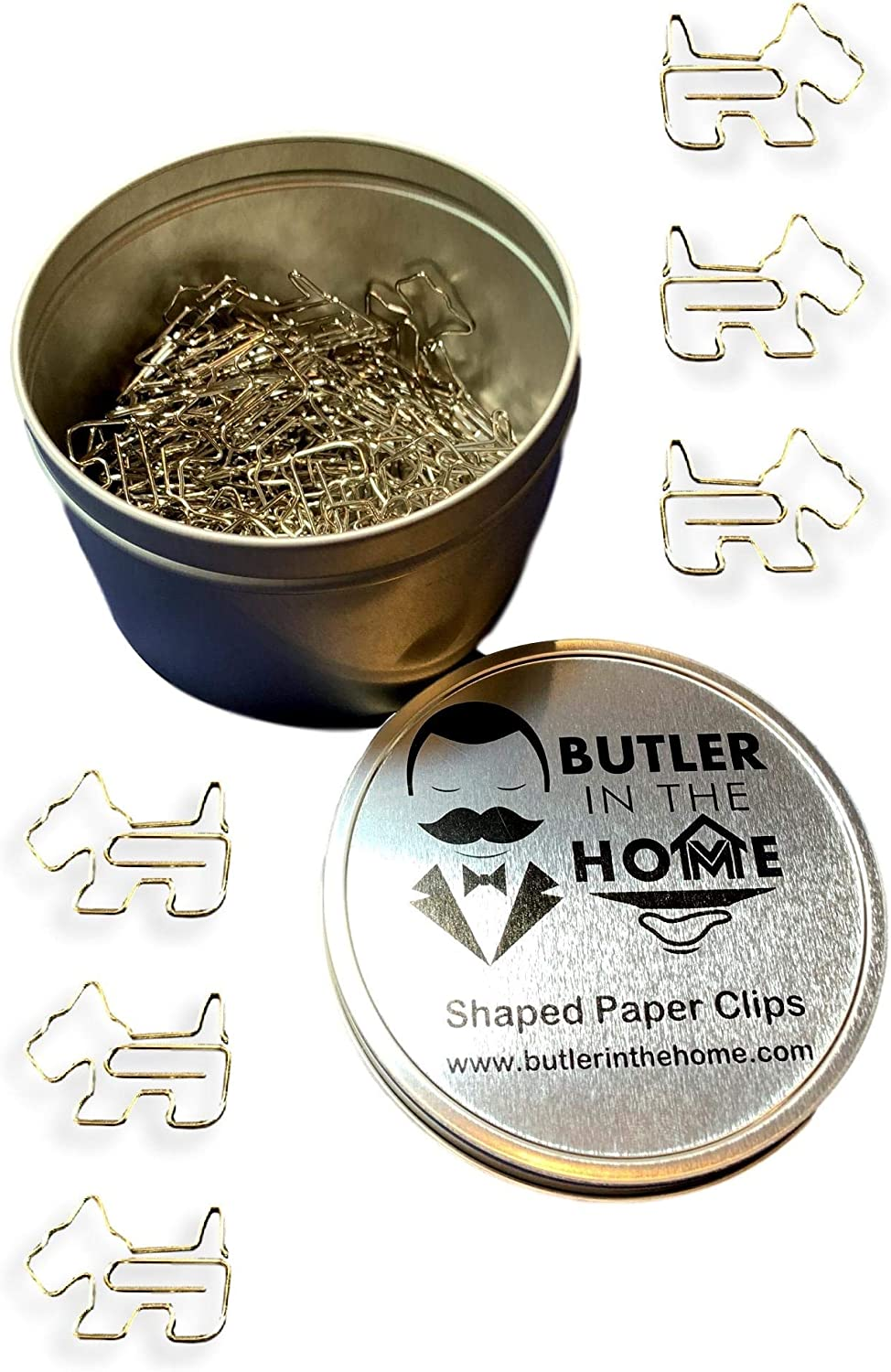 Butler in the Home 100 Count Schnauzer Shaped Paper Clips Great for Paper Clip Collectors or Office Gift - Comes in Round Tin with Lid and Gift Box (Silver)