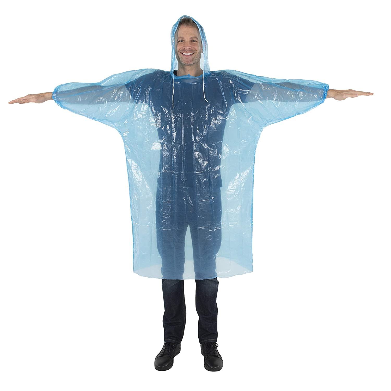 Disposable Extra Thick Heavy Duty Emergency Ponchos Wealers Rain Poncho for Adults Bulk Pack for Men Women /& Teens Reusable /& Waterproof Hood Strings /& Sleeves Outfit for Camping Amusement Parks