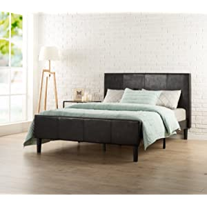 Zinus Deluxe Faux Leather Upholstered Platform Bed, Queen