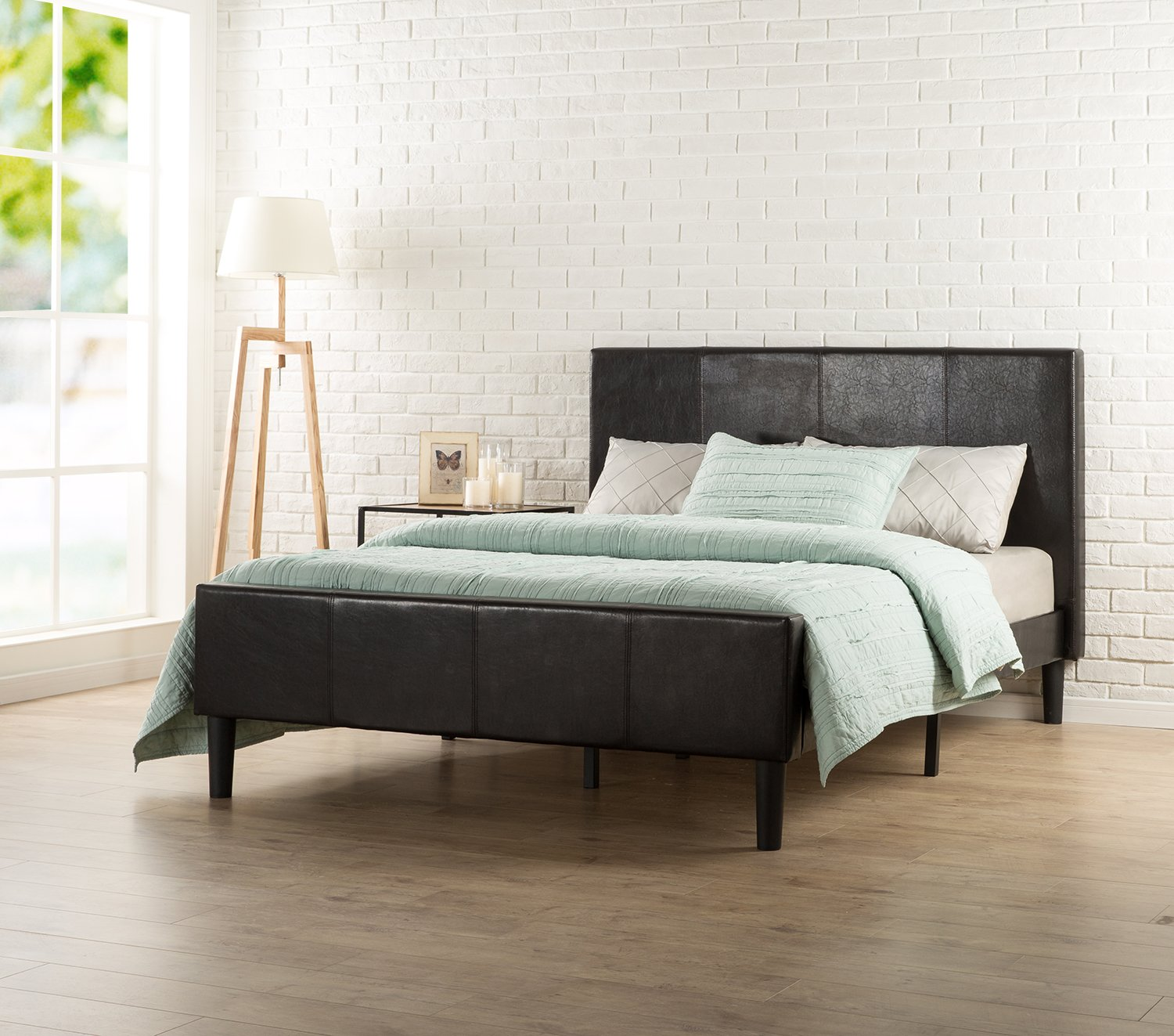 Zinus Deluxe Faux Leather Upholstered Platform Bed with Footboard and Wooden Slats, Queen, Espresso