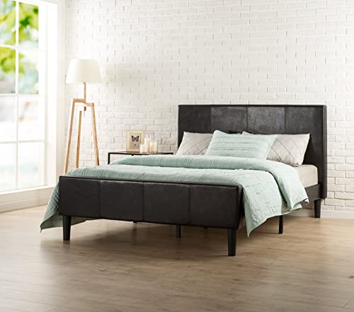 Zinus Deluxe Faux Leather Upholstered Platform Bed with Footboard and Wooden Slats, King, Espresso
