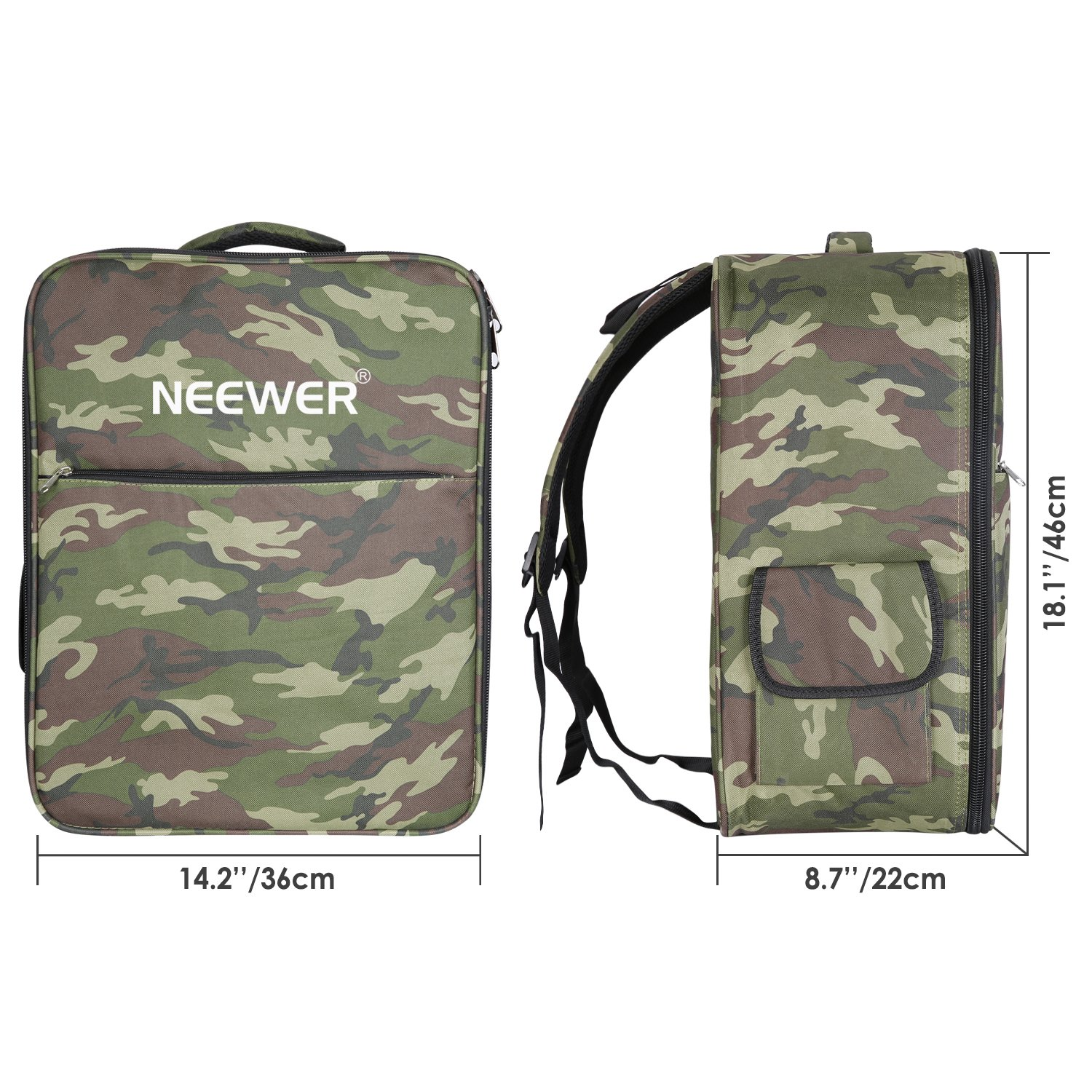 Neewer Multi-Function Waterproof Backpack Bag Case for DJI Phantom 1 FC40 2 2 Vision 2 Vision+ 3, DJI 3 Professional, Advanced, Standard, 4K Cameras and Accessories(Camouflage) by Neewer (Image #3)