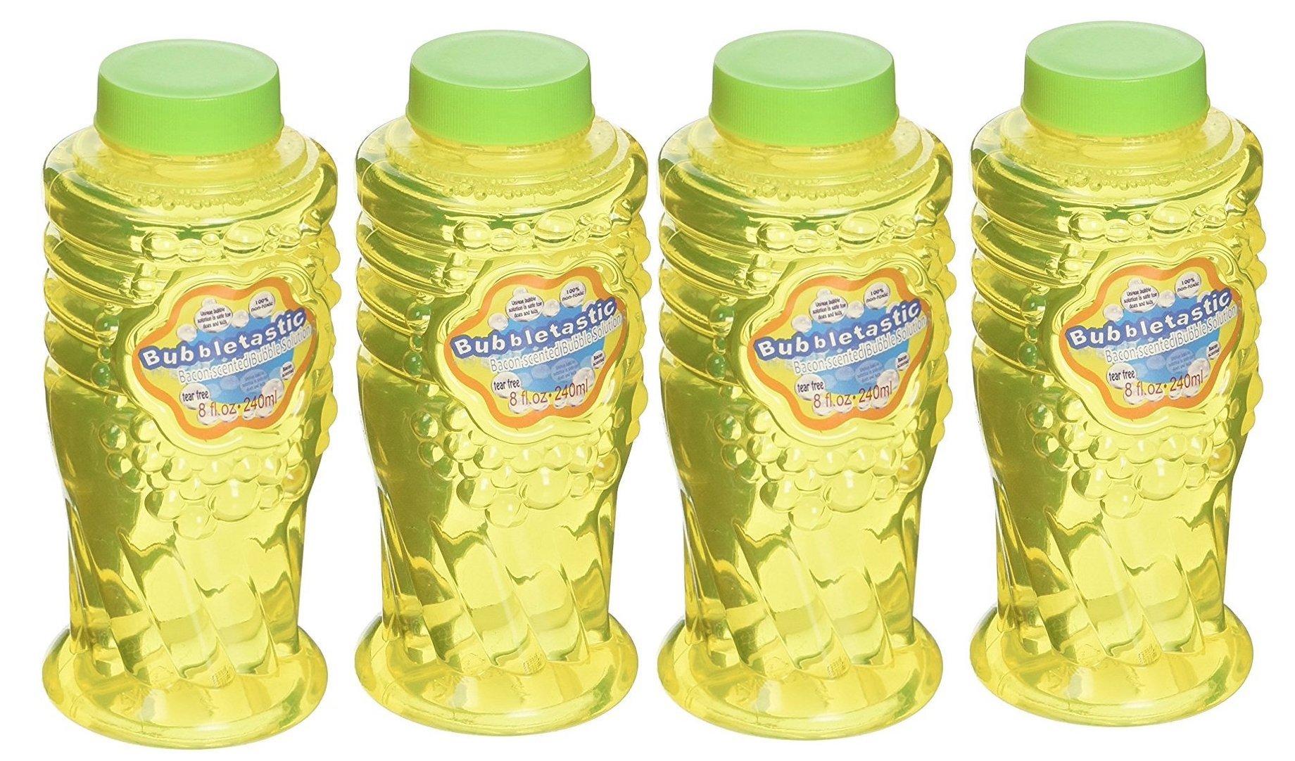 Bubbletastic Dog Bubbles Bacon Bubbles for Dogs - 4 Bottles - 8oz Each - Includes Wands!