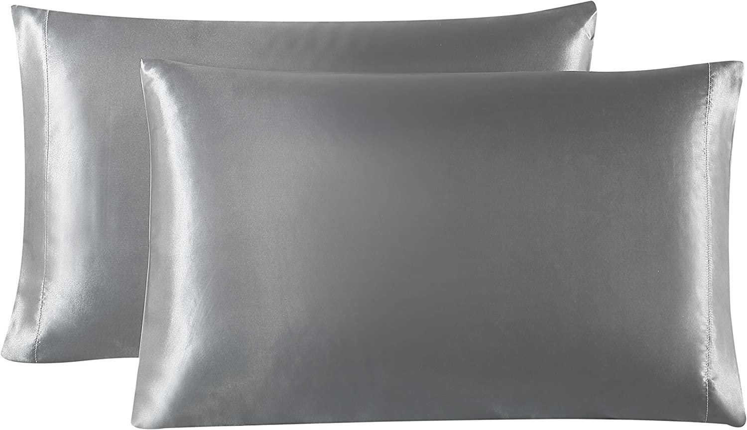 Love's cabin Silk Satin Pillowcase for Hair and Skin (Dark Gray, 20x26 inches) Slip Pillow Cases Standard Size Set of 2 - Satin Cooling Pillow Covers with Envelope Closure
