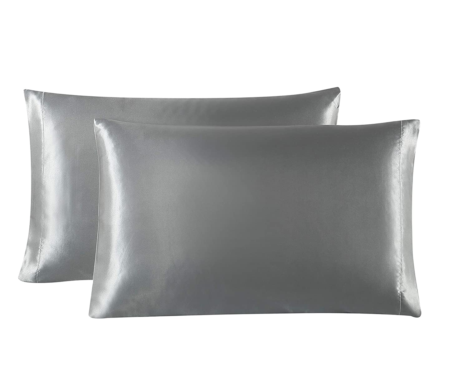 Love's cabin Silk Satin Pillowcase for Hair and Skin (Dark Gray, 20x30 inches) Slip Pillow Cases Queen Size Set of 2 - Satin Cooling Pillow Covers with Envelope Closure