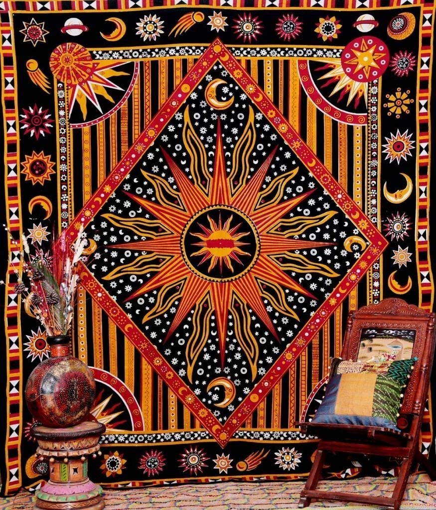 Golden Black Sun Star Tapestry Exotic Celestial Wall Art for Home Décor Handicrunch HCDE1253