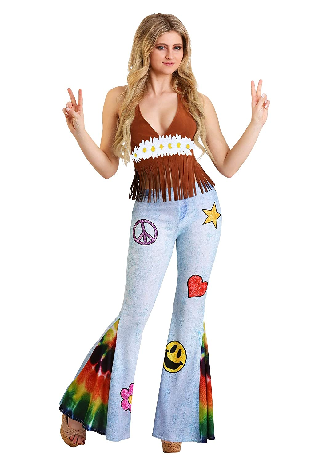 60s Costumes: Hippie, Go Go Dancer, Flower Child, Mod Style Patchwork Hippie Costume Womens $34.99 AT vintagedancer.com