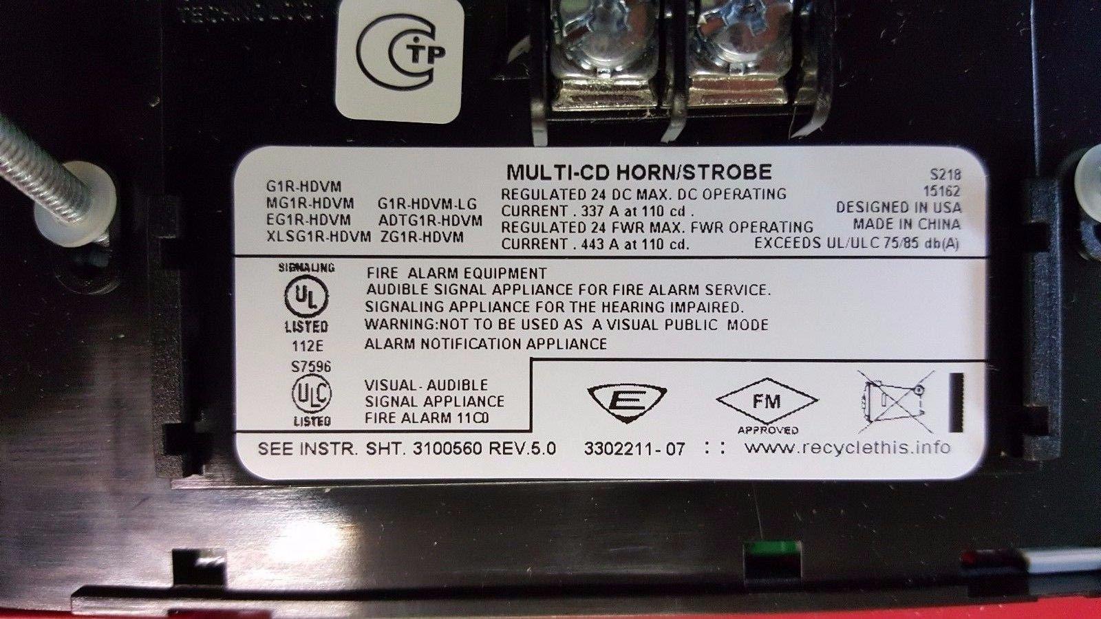 Edwards G1R-HDVM Horn Stobe 24VDC Red