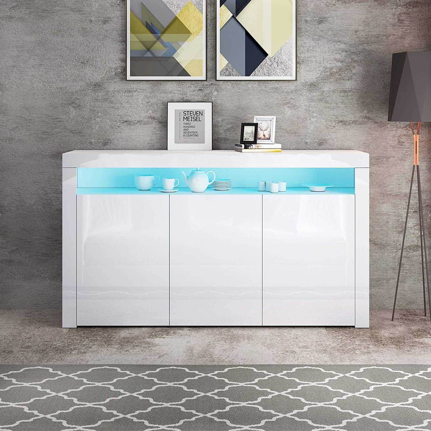 White High Gloss 3 Doors Sideboard Storage Cabinet with RGB LED Light for Living Room Dining Room Kitchen Buffet Cupboard