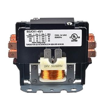 BOJACK 1 Poles FLA 40 Amp Coil 24 VAC Air Conditioner Condenser Compressor Contactor AC Definite Purpose Contactor (Pack of 1 Pcs)