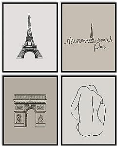 Printsmo Paris Art Print Set of 4, Neutral Earthtones Minimalist Art Prints for Home Decor, Modern Minimalist Abstract Parisian Boho Style Wall Art Poster Set, 11x14 Inches Each, Unframed