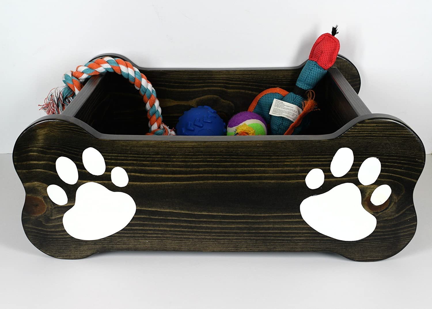 Dog toy box, pet storage bin, small dog bed, paw print paint, wood container, chew toy, rope, bone, fur baby critter, ebony stain