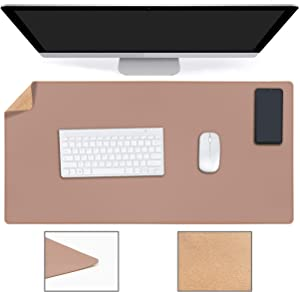 "YSAGi Multifunctional Office Desk Pad, Ultra Thin Waterproof PU Leather Mouse Pad, Dual Use Desk Writing Mat for Office/Home (31.5"" x 15.7"", Cork+Mud)"
