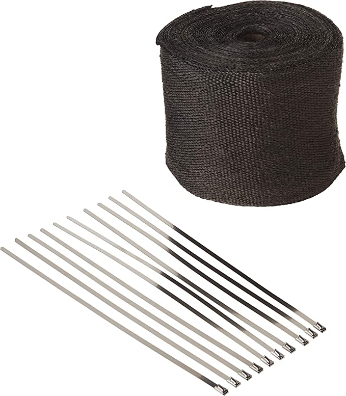 VViViD Black Fiberglass Heat Shield Exhaust Wrap Roll Including 10 Free Stainless Steel Locking Zip Ties 2 x 25ft