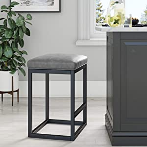 "Nathan James 22101 Nelson Bar Stool with Leather Cushion and Metal Base, 24"", Gray/Black"