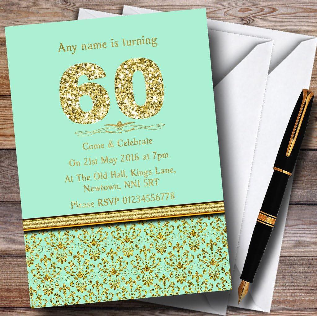 ミントグリーン&ゴールドヴィンテージダマスク60th Personalized誕生日パーティー招待状 50 Invitations