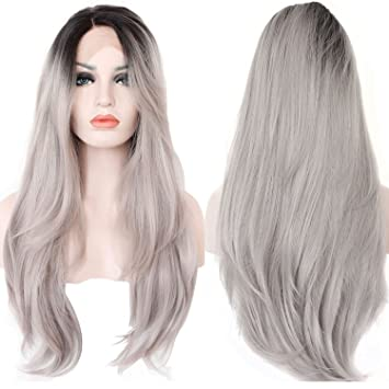 Amazon ebingoo grey ombre dark roots natural straight ebingoo grey ombre dark roots natural straight synthetic lace front wig 18 inch solutioingenieria Image collections