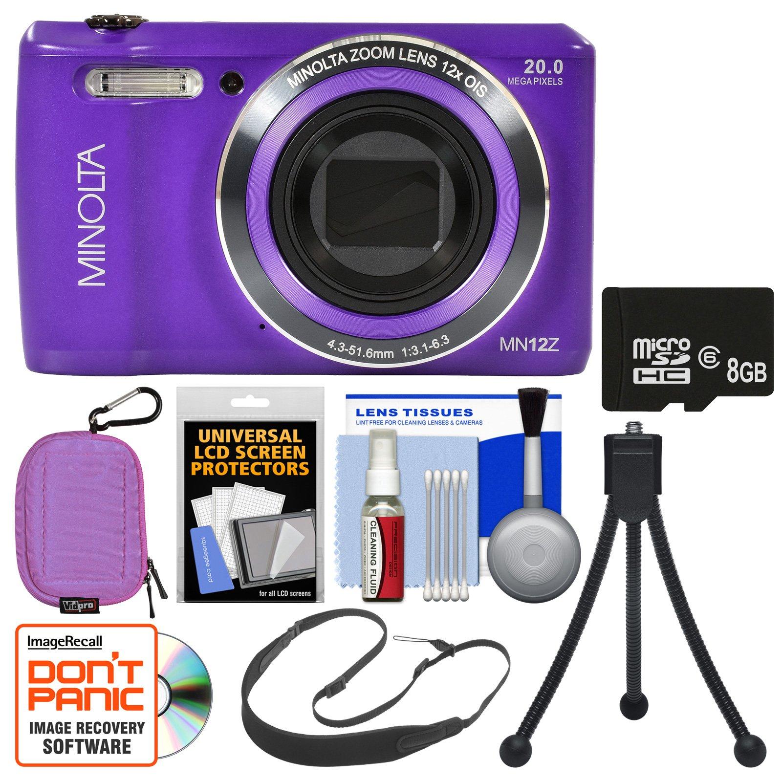 Minolta MN12Z OIS 12x Zoom Wi-Fi Digital Camera (Purple) with 8GB Card + Case + Flex Tripod + Sling Strap + Kit by Minolta