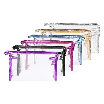 Amazon.com: BCP 6pcs color transparente de PVC con cierre ...