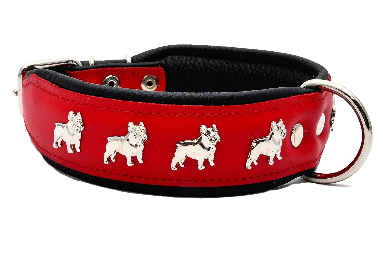Rouge/Noir en Cuir Véritable collier pour chien bouledogue français fait à la main Zooleszcz
