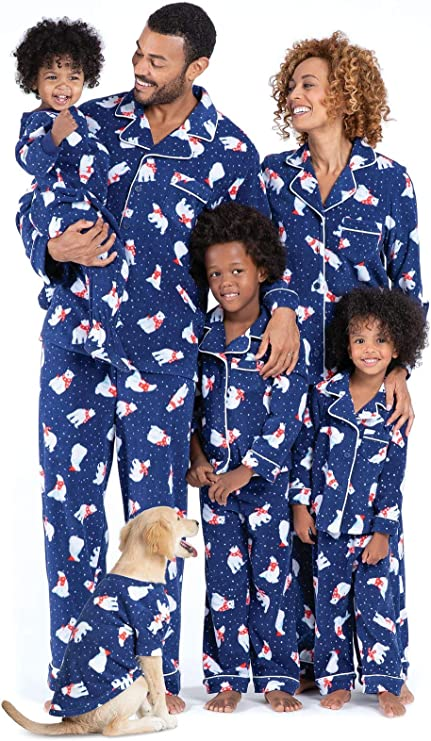 PajamaGram Family Matching Christmas Pajamas - Fleece, Navy, Women's, XS, 2-4
