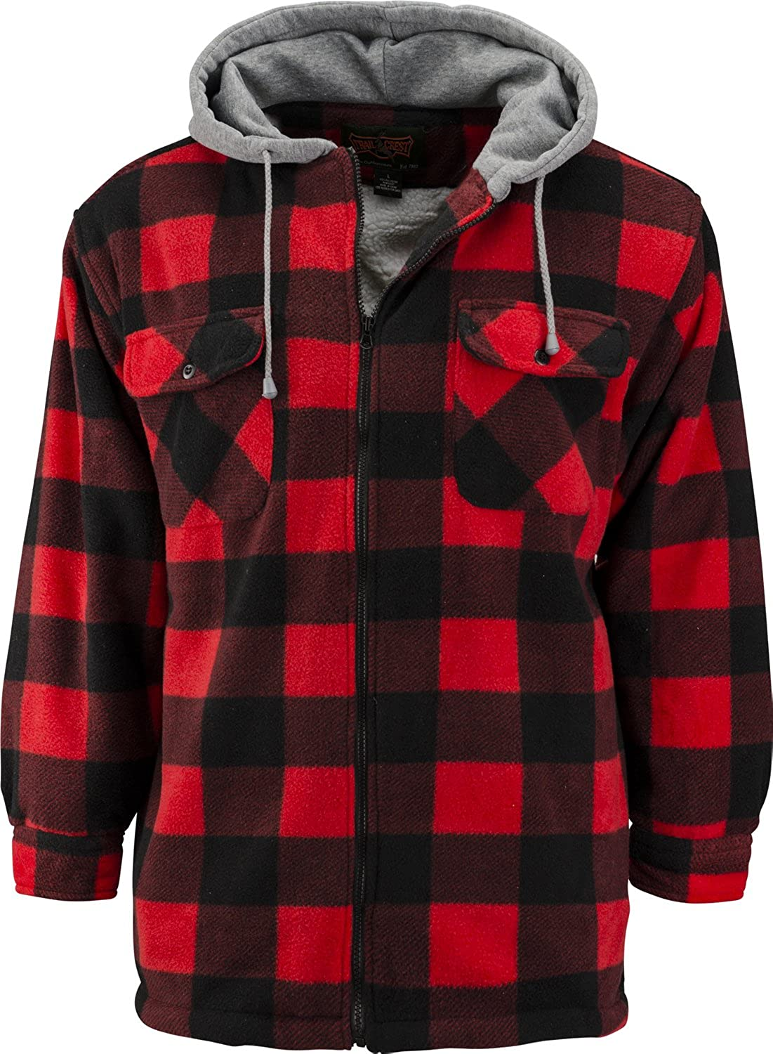 Trail Crest Mens Buffalo Plaid Classic Sherpa Lined Zip Up Hooded Shirt Jacket 268612