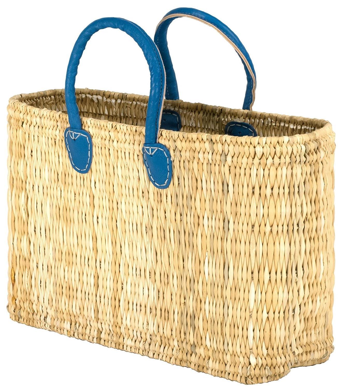 "Moroccan Straw Tote Bag w/ Blue Handles, 17""Lx5""Wx10.5""H - Tatami Shopper Sm"
