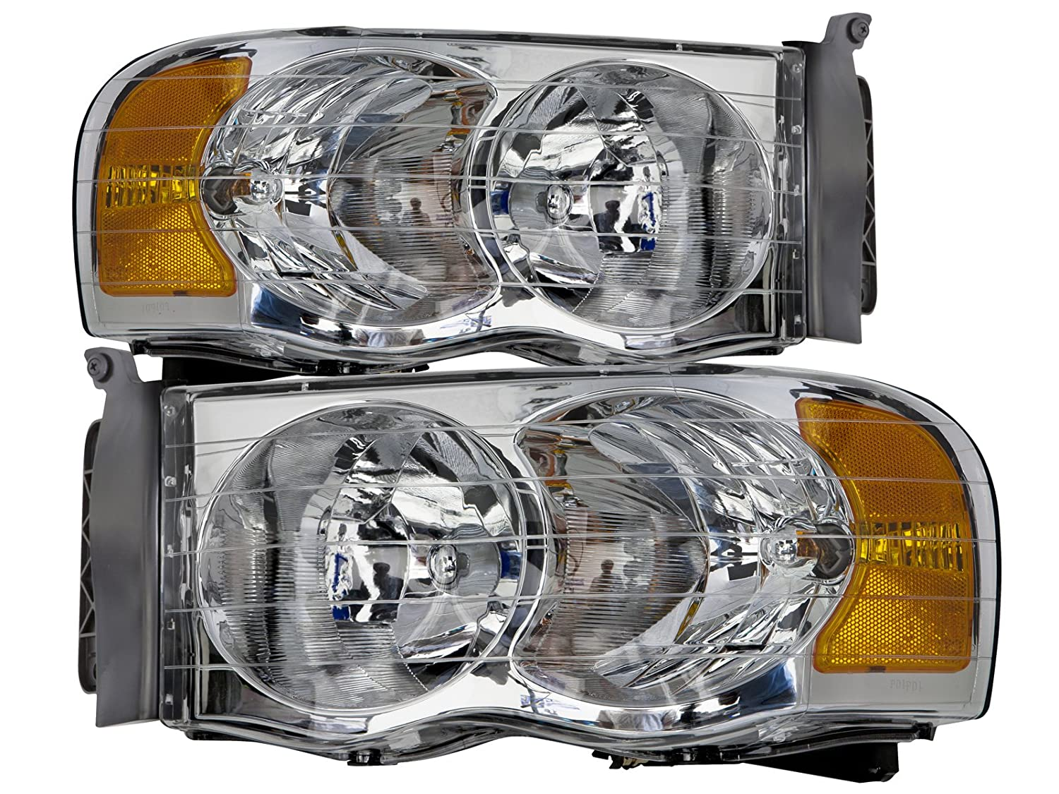 HEADLIGHTSDEPOT Chrome Headlights Compatible with Dodge Ram 1500 2500 3500  Includes Left Driver and Right Passenger Side Headlamps