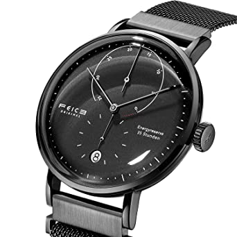 FEICE Mens Mechanical Watch Automatic Wrist Watch Stainless Steel Leather Bands Waterproof Calendar Analog Watches for