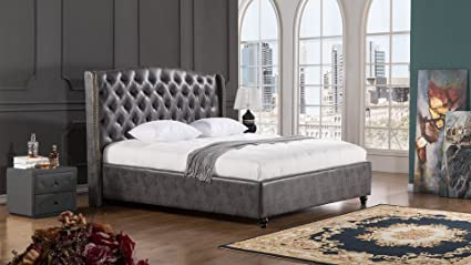 American Eagle Furniture Drake Collection Full Leather Air Fabric Bedroom  Bed With Tufted Headboard, Eastern
