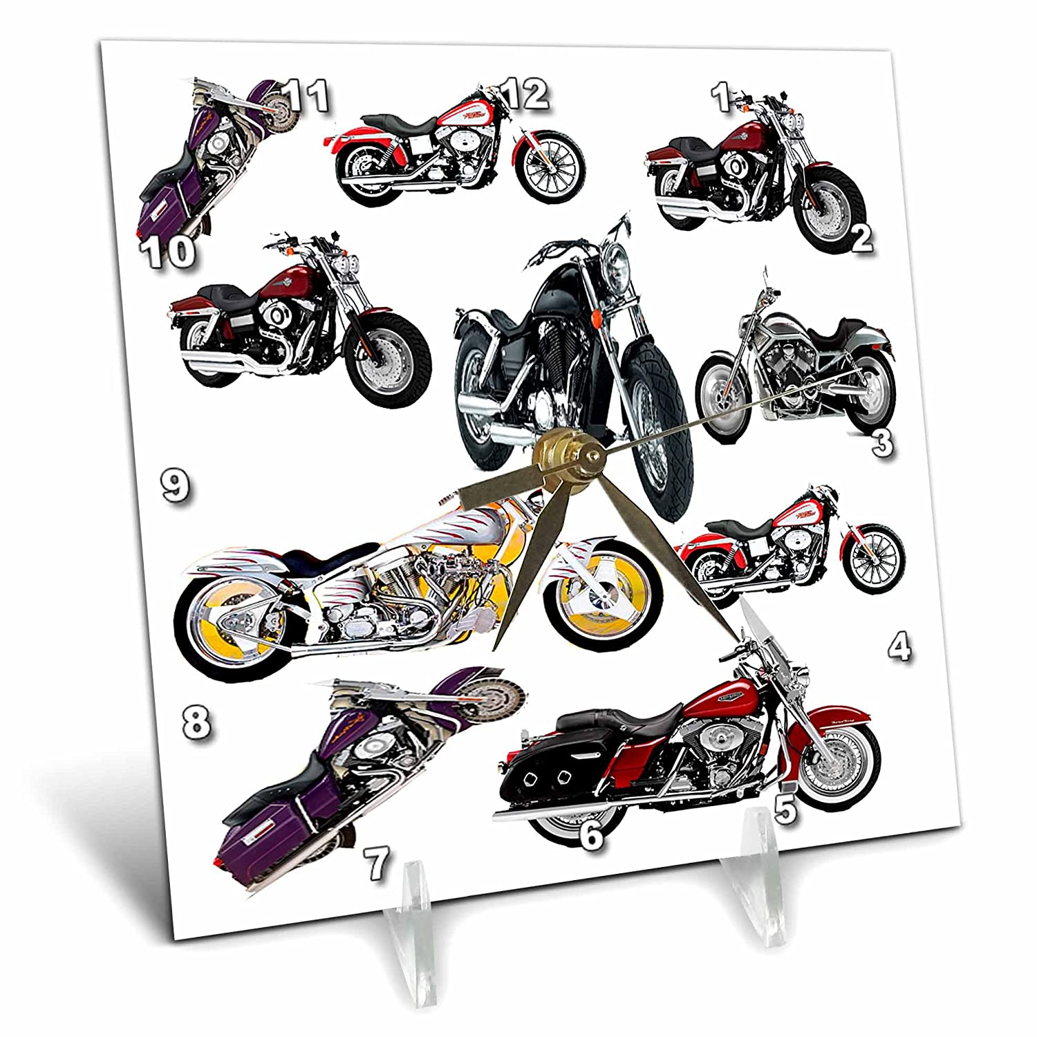 3dRose dc/_ 5730/_1 Picturing Harley-Davidson and No.174 Motorcycles Desk Clock