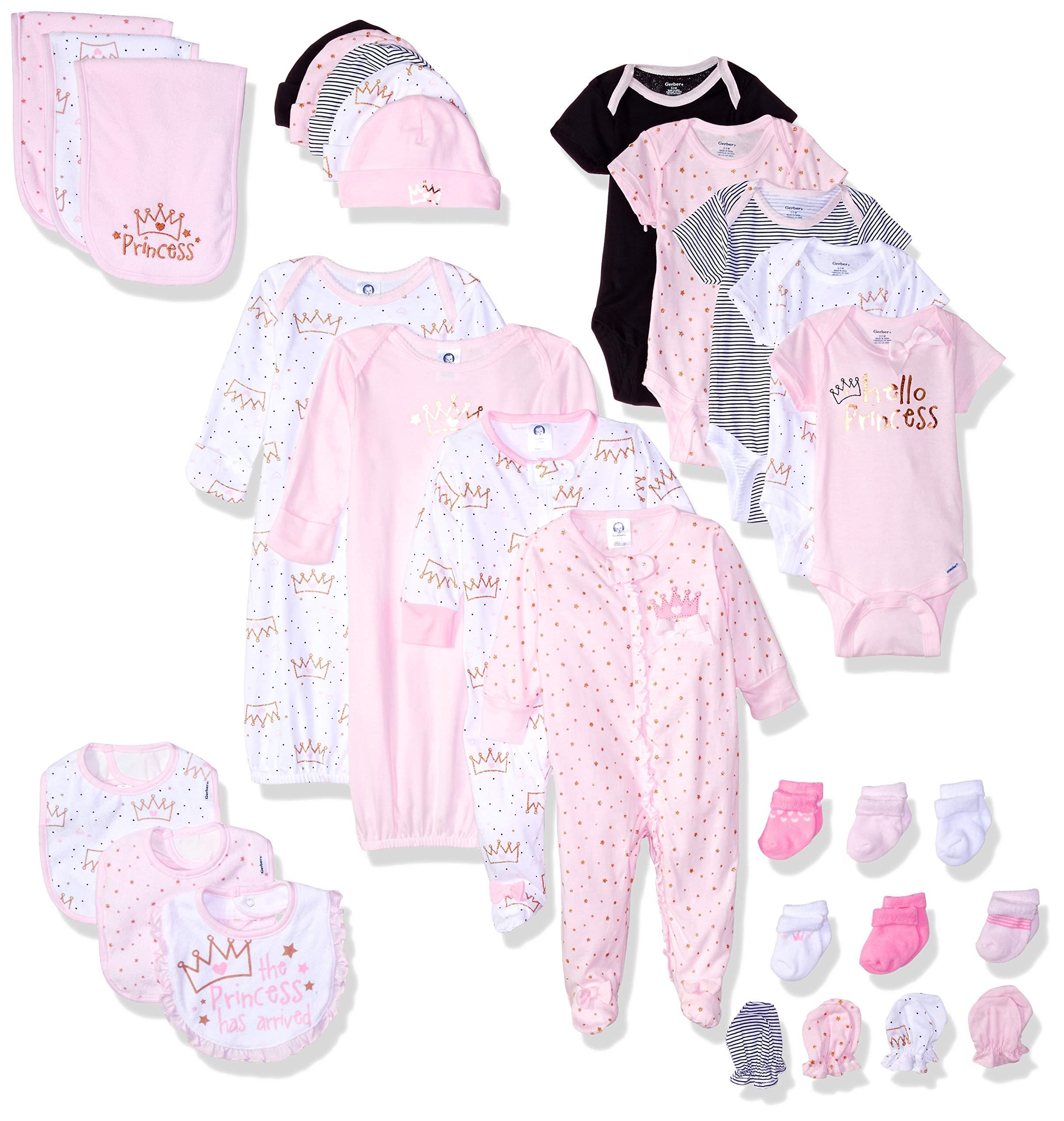 Gerber Baby 30-Piece Essentials Gift Set, Princess Crown, Newborn Assorted Sizes by Gerber
