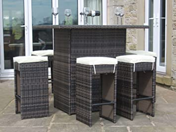 Rattan Outdoor 6 Seat High Table u0026 Stool Bar Set Garden Furniture Brown : garden bar table and stools - islam-shia.org