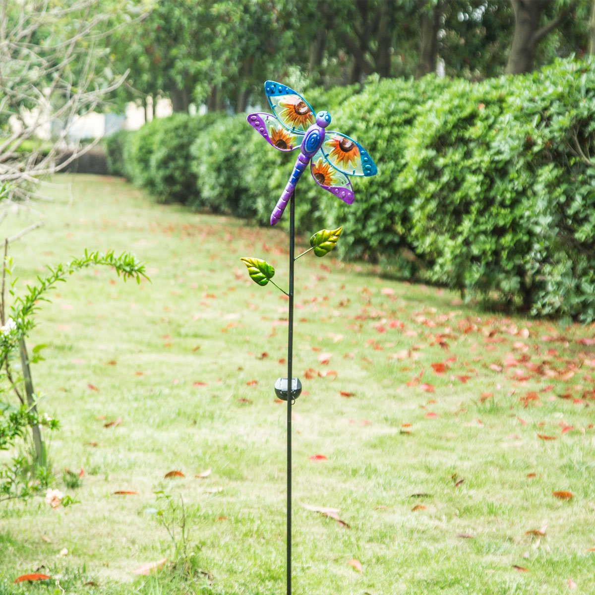 A Ting Solar Garden Stake Metal Decor Stick for Outdoor Lawn Yard Patio Decoration,Gragonfly
