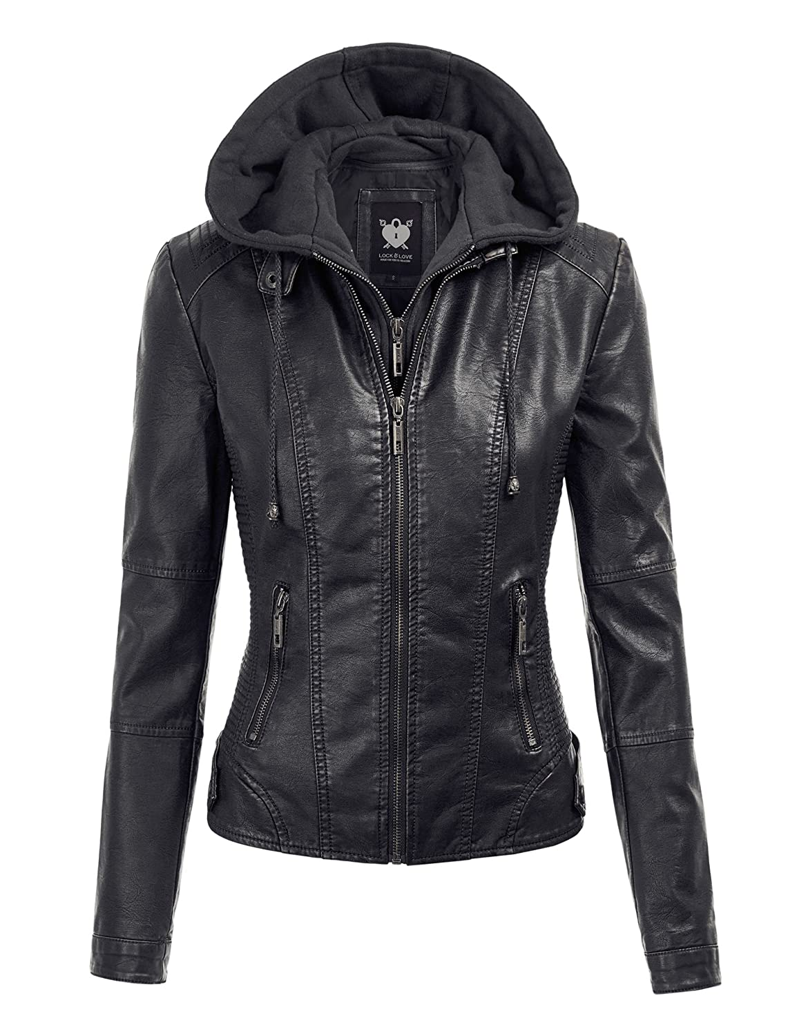 Womens hooded leather jacket sale
