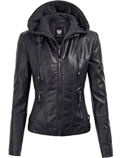 27b146f03 Made By Johnny MBJ Womens Faux Leather Motorcycle Jacket with Hoodie ...