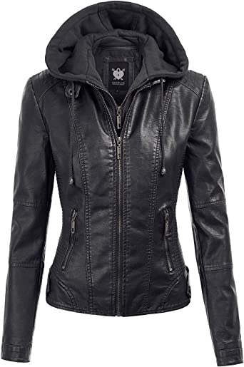 Lock and Love Women's Removable Hooded Faux Leather Moto Biker Jacket (XS~ 2XL) at Amazon Women's Coats Shop