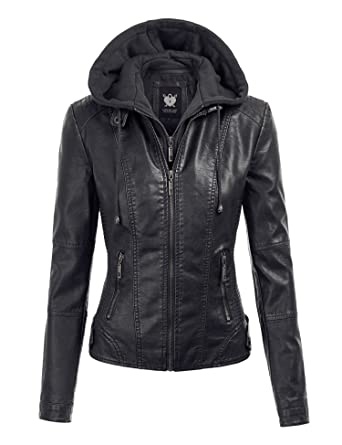 eaedb06e2c63e Lock and Love LL WJC1044 Womens Faux Leather Quilted Motorcycle Jacket with  Hoodie XS Black