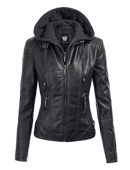 7594780a1 Lock and Love Women's Hooded Faux Leather Moto Biker Jacket (XS~2XL)