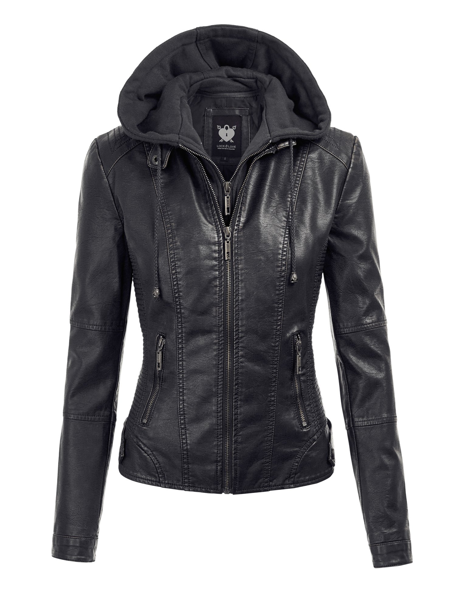 WJC1044 Womens Faux Leather Quilted Motorcycle Jacket With Hoodie M Black