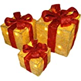 Set of 3 Decorative Pre-Lit LED Christmas Gift Boxes Festive Xmas Decoration (Gold with Red Bow)