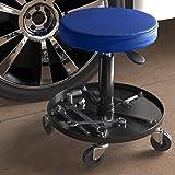 AmazonBasics Pneumatic Shop Stool, Garage Seat with 300 lb Capacity - Blue