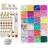 gazechimp 3200 Unidades de 6 Mm Pequenas Planas Redondas de Polímero de Argila Espaçador Kit de Contas Colar Pulseira Faça Vo